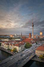 Обои Германия Берлин Дома Мосты Речка Башня Улица Города