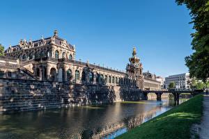 Обои Германия Дрезден Мост Музеи Дизайн Водный канал Zwinger palace Города
