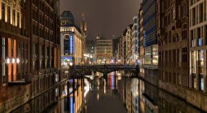 Картинка Германия Гамбург Дома Мост Ночь Города