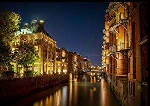 Картинка Германия Гамбург Дома Ночные Водный канал город