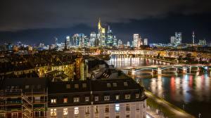 Фото Германия Дома Франкфурт-на-Майне Реки Мост Ночные город