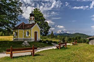 Фотография Германия Горы Церковь Бавария Альп Скамья Природа