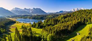 Обои Германия Гора Озеро Пейзаж Лес Панорама Альп Альпы Природа