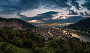 Обои Германия Реки Дома Мосты Вечер Холм Облака Heidelberg Города