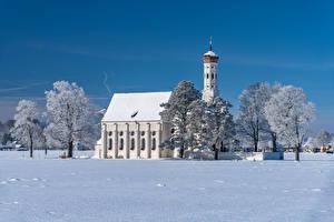 Фотографии Германия Зимние Церковь Бавария Снеге