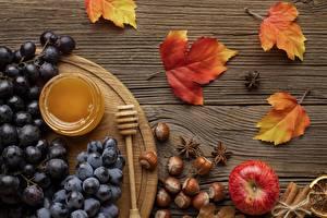 Фотографии Виноград Мед Лесной орех Яблоки Натюрморт Листья Клён