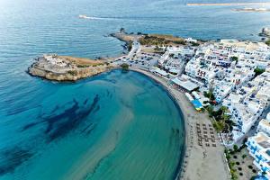 Фото Греция Берег Здания Улице Сверху Naxos City город
