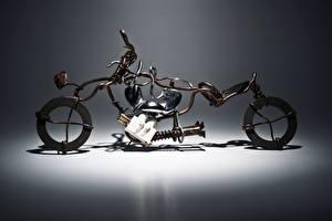 Фото Harley-Davidson Креатив Сером фоне Мотоциклы