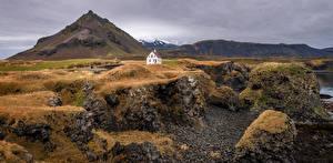 Обои для рабочего стола Исландия Гора Скале Arnarstapi Природа