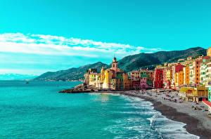 Обои Италия Лигурия Здания Залив Пляже Холмов Camogli Города
