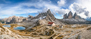 Фото Италия Горы Пейзаж Панорама Альпы Облака South Tyrol, Dolomites Природа
