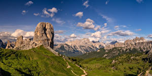 Картинки Италия Гора Небо Альп Альпы Облако Облака Dolomites Природа