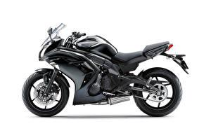 Фотографии Kawasaki Черная Сбоку Белый фон ER-6f, 2012–16 Мотоциклы