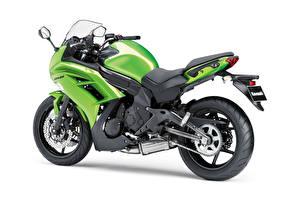 Фотография Kawasaki Зеленых Белый фон ER-6f, 2012–16 Мотоциклы