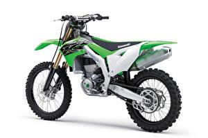 Обои Kawasaki Зеленый Белый фон KX450, 2018