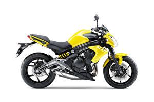 Фотографии Кавасаки Желтых Белый фон ER-6n, 2012–16 мотоцикл