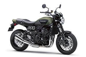 Картинки Кавасаки Белым фоном Сбоку Z900 RS, 2018 Мотоциклы
