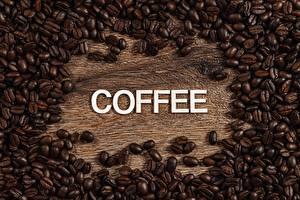 Фотографии Много Кофе Зерно Слово - Надпись Английская Пища