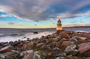 Фотография Норвегия Берег Маяки Камень Pikesten Природа