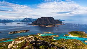 Фотография Норвегия Горы Лофотенские острова Небо Утес Облачно Природа