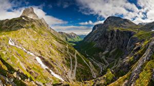 Фото Норвегия Горы Дороги Облака Долина Trollstigen Природа