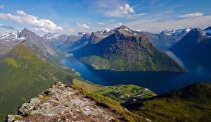 Обои Норвегия Горы Облака Фьорд Sunnmore Природа