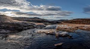 Картинки Норвегия Облачно Траве Иней Suldal Природа