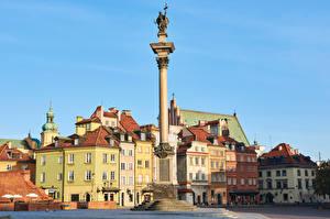 Фотографии Польша Варшава Здания Памятники Городская площадь Колонны