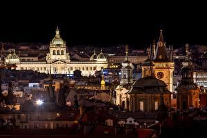 Картинка Прага Чехия Дома Церковь Ночью Города