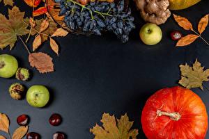 Фотография Тыква Осень Яблоки Виноград Листья Жёлудь Шаблон поздравительной открытки