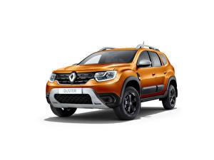 Фотография Renault Оранжевые Металлик Белом фоне Duster, CIS-spec, 2021 Автомобили
