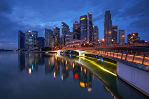 Картинки Сингапур Здания Небоскребы Ночью