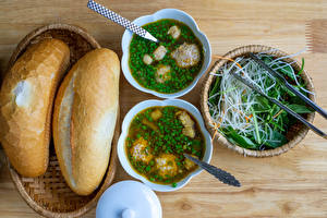 Фотография Супы Хлеб Овощи Тарелке Продукты питания