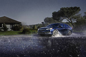 Картинка Субару Дождь Синяя 2020 Impreza Limited Sedan машины