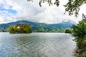 Фотография Швейцария Озеро Остров Schwanau island in the Swiss lake