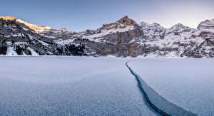 Обои Швейцария Горы Зимние Утро Озеро Альпы Oeschinensee Природа