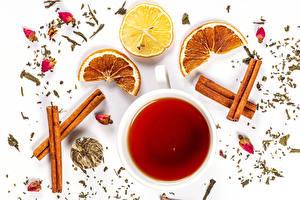 Обои Чай Корица Лимоны Апельсин Белый фон Чашке Пища