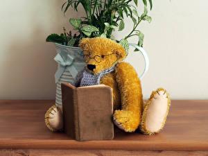 Картинка Плюшевый мишка Книги Очки Читает