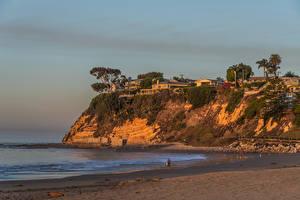 Картинка Штаты Побережье Здания Калифорния Скалы Cabrillo Beach in San Pedro Природа