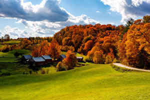 Обои Штаты Здания Леса Осенние Луга Дерево Woodstock Vermont Природа