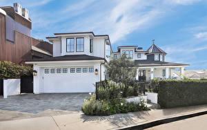 Картинки Америка Дома Калифорния Особняк Дизайн Гаражом Забором Уличные фонари San Clemente город