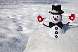 Фото Зимние Рождество Снеге Шляпа Рукавицы Галстук-бабочка