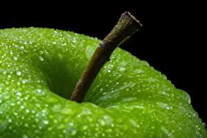 Фотографии Яблоки Вблизи Капля Зеленая