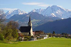 Фотография Австрия Гора Церковь Дома Альпы Hallein Природа
