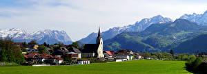 Фотография Австрия Горы Церковь Дома Альп Альпы Tirol Природа