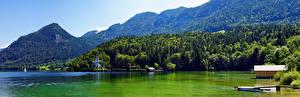 Картинка Австрия Горы Озеро Панорама Альпы Grundlsee Природа