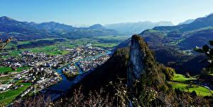Фотография Австрия Горы Реки Здания Альпы Долина Сверху Природа
