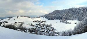 Фотография Австрия Зимние Гора Дома Снега Снег Альп Альпы Tennengau Природа