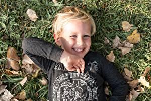 Фотографии Осенние Трава Листья Лежат Смотрят Улыбка Руки Мальчики Дети