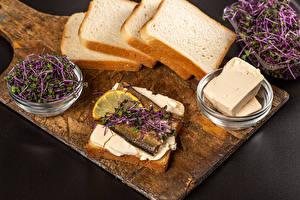 Фотографии Хлеб Бутерброд Рыба Серый фон Разделочная доска Масло microgreen Пища